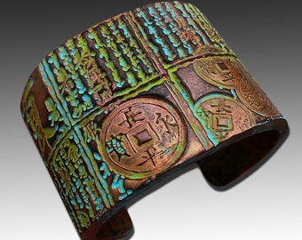 Asian distressed polymer clay cuff bracelet