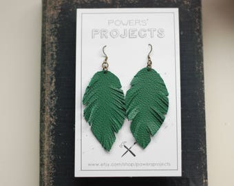 Leather Feather Earrings [Limited Edition Green]
