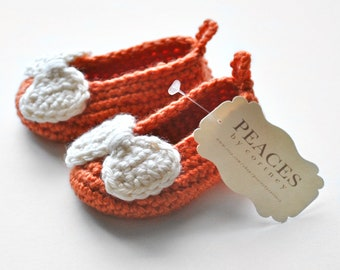 Baby & Co Baby Shoes - Orange Baby Slippers with Off White Bows