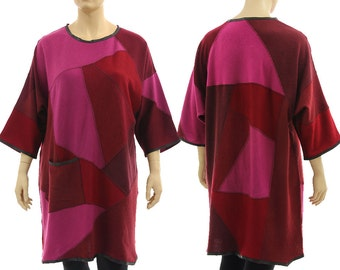 Oversized knitted sweater dress tunic pink burgundy, fall winter wool patchwork dress, lagenlook dress plus size women L-XXL, US size 16-22