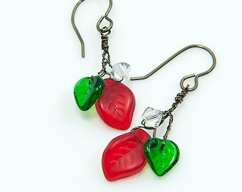 Red and Green Leaf Dangle Earrings, Red and Green Christmas Earrings, Holiday Jewelry, Gift Ideas For Her under 30 dollars
