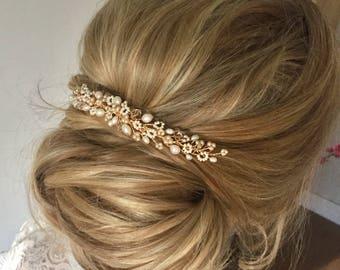 Lily Bridal Hairpiece, Free Shipping, Pearl Wedding Hairvine, Comb, Vine, tiara, jewellery, headdress, bridesmaid