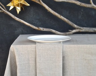 Linen Tablecloth made in the USA, Eco friendly Tablecloth, Unbleached Linen Tablecloth, Organic Flax Tablecloth,Rustic Tablecloth