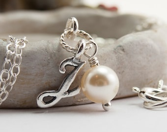 J Initial Necklace Personalized Jewellery, Cream Pearl Necklace, Sterling Silver, Swarovski Crystal Pearl Necklace, Ivory Pearl Jewelry