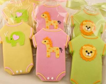 Baby Cookies, Animal Baby Shower Cookies, Elephant, Giraffe, Lion - (12 Sugar Cookie Favors)