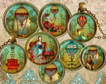 EPHEMERA digital collage sheet round images 30,25,18mm + FREE Marie Antoinette Instant Download, Victorian Vintage Hot Air Balloons