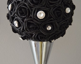 """BLACK Kissing Ball with rhinestone brooch. Real Touch Roses. WEDDING CENTERPIECE pomander  5"""" 6"""" 7"""" 8"""" 10"""" 12"""" 14"""" 16"""""""