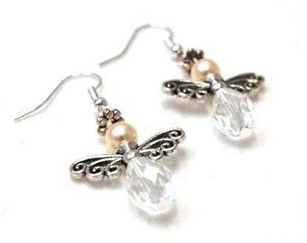 Angel Earrings Silver, Christmas angel, Swarovski crystal, guardian angel, beaded earrings, mother's Day, earrings angle, guardian angle, handmade