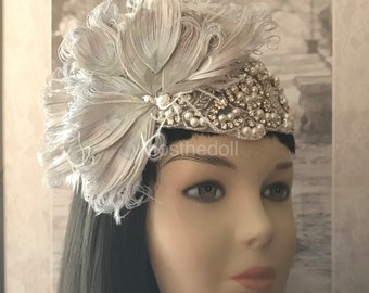 Gatsby headpiece/Peacock headpiece/1920s headpiece/Flapper/Wedding headpiece/Rhinestone Pearl headpiece/hair accessories/hair jewelry/Kara