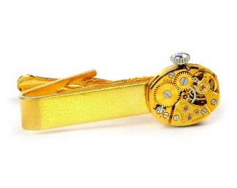 steampunk  Vintage Gold Bulova Watch Tie Bar Alligator Clip