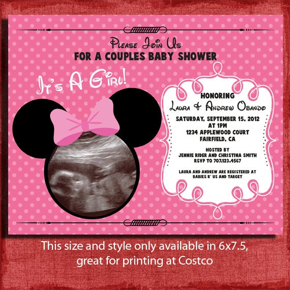 Printable Minnie Inspired Baby Shower 4x6 or 5x7 Invitation