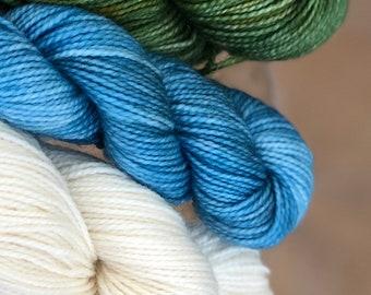 Hand dyed yarn,Mitten/Fingerless Mitt Kit #2,Indie Dyed Yarn,gift for yarn lovers,50 gram Mini Skeins,Mitten/Mitt kit - pattern not included