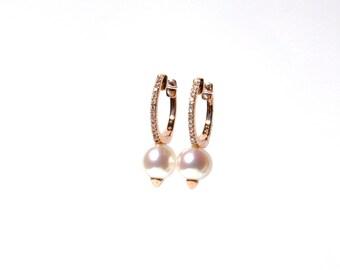 14k Pave Diamond Spiked Pearl Hoops/Earrings