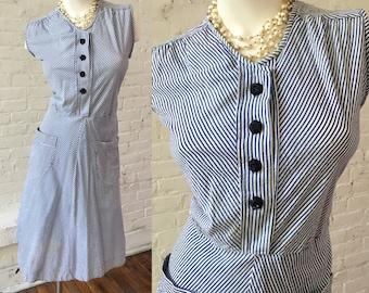 Vintage Sleeveless Blue and White Stripe Dress