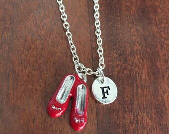Ruby Red Slippers initial necklace, Wizard of Oz jewelry, Red Slippers jewelry, Wizard of Oz jewelry, Ruby Red Slippers, Red Shoes