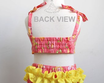 FREE SHIPPING - Baby swimsuit Coral Blossoms - Baby bathing suit 6m 12m 18m 24m 3T 4T 5T 6T - Infant Baby bikini - Baby girl swimsuit