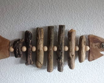 "Skulpur ""The Singing Guppy"" Driftwood Wood Art"