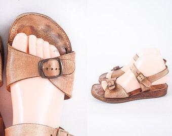 Vintage 70s Wooden Platform Shoes, 70s Shoes, Wedge Sandals, Chunky Heel Sandals, Brown Leather Sandals, Bohemian Sandals, Hippie Shoes