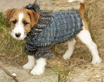 Handmade knit dog sweater / coat / hoodie / jacket in soft warm wool (with boucle edging) in sizes XS-S-M
