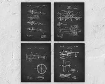 Airplane art etsy aviation canvas art set of 4 nursery decor nursery art airplane decor malvernweather Image collections