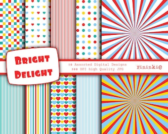 Bright Digital Paper - INSTANT DOWNLOAD - Digital Scrapbooking - 12 x 12 - Commercial Use (CU)