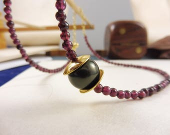 """Purple Garnet and Shell Pearl Necklace - """"Empress' Gift"""""""
