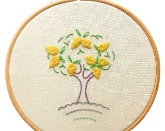 Lemon tree crewelwork embroidery kit
