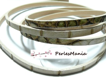 Approximately 1.15 meter faux leather BARK tone cream and KHAKI 5 by 2MM A3905