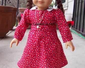 OOAK vintage red floral print with gold buttons for 18 inch play dolls such as American Girl, Springfield, OG. Made in USA