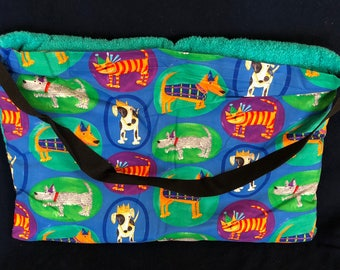 """Beach Towel Pool Bag Chair & Car Seat Cover - """"Dogs and Cats in Ovals"""" Pocket -  with Jumbo TEAL Terrycloth Towel (BTB-54-0684-TTEAL-LB14L)"""