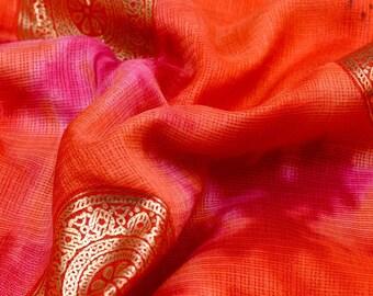 Golden-Pink and Peach Circle Pattern Kota Doria Fabric-S040