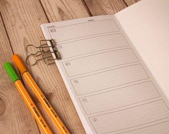 WO1P Planner, Weekly planner, Week on 1 page, Midori insert, Travelers notebook, Midori notebook, Fauxdori inserts, Undated planner