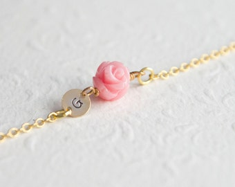 Personalized Tiny Rose Bracelet Flower Girl Gift Gold plated Charm Jewelry