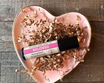 BELOVED Rollerball Aromatherapy Essential Oil Blend Organic / Aphrodisiac with Jasmine Lavender Sandalwood Orange Patchouli & Ylang Ylang
