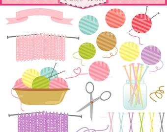 ON SALE Knitting clip art - knitting Digital clip art, hobby clip art, yarns clip art, Crochet clipart, Basket Yarn clip art