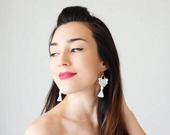 Statement Jewelry Tassel Earrings White Earrings Tassel Jewelry Sister Gift Statement Jewelry Dangle Earrings/ GALENA