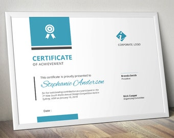 Bar corporate business certificate template for MS Word (docx)