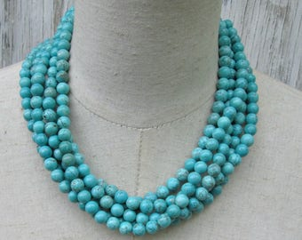 Turquoise Multi Strand Necklace, Layered Boho Jewelry Round Beads Collar Choker