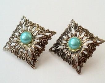 Fine Silver Antique Victorian/Edwardian Filigree and Aqua Pearl Stud Earrings, Square, Feminine