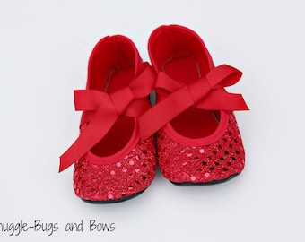 Ruby Red Slippers, Ruby Slippers, Wizard of Oz, Dorothy Shoes, Baby Shoes, Crib Shoes, Toddler Shoes, Baby Shoes Girl, Girl Mary Janes