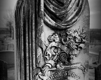 Original Photography Cemetery Stone 8X10 Print, mat and bag