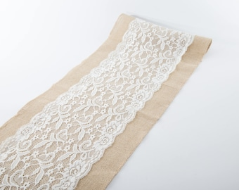 """Natural Jute Burlap Table Runner with Middle White Lace 12"""" Wide, Vintage Wedding Decorations, Bridal Shower, Baby Shower,  Rustic Decor."""
