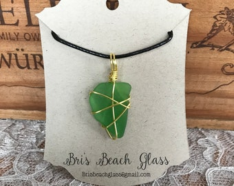 Wire wrapped beach glass
