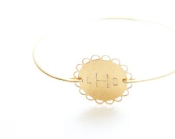 Personalized Bracelet, Monogram Bracelet, Round Lace Initial Bangle, Custom Initial Jewelry, Personalized Jewelry, Initial Bracelet