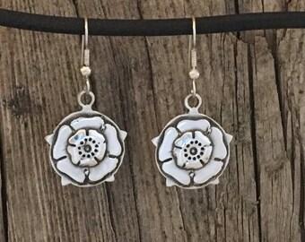 Handmade sterling silver white rose earrings-white rose earrings for women-silver earrings for women-great gift for women-white rose earring