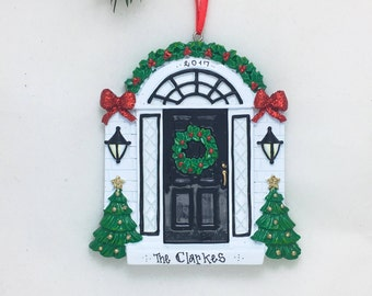 Black Door Personalized Christmas Ornament / New Home Ornament / Our First Home / Real Estate Agent / Realtor Gift / New House