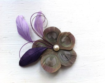 GINA Iris Gray, Lavender, and Purple Grape Peacock Feather Flower Hair Clip, Fascinator