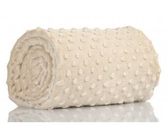 Half a metre coupon 50 minky fabric x 160 cm, Ecru velvet fabric / plush