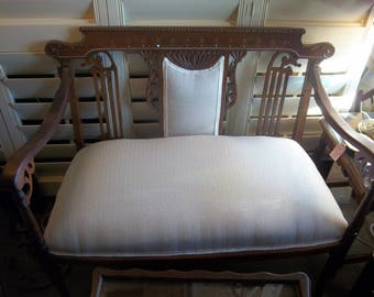 Charming Victorian Antique Settee and Matching Chair