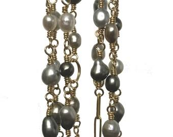18k Japanese Keshi Pearl  Kaleidoscope Necklace